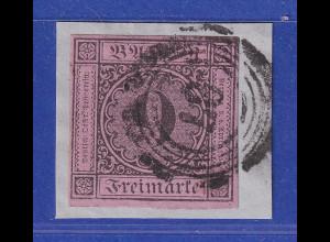 Altdeutschland Baden 9 Kreuzer lilarosa Mi-Nr.4b gestempelt 87 Vollrandig !