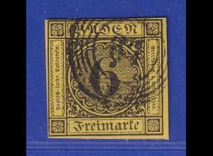 Altdeutschland Baden 6 Kreuzer Mi-Nr. 7 gestempelt 87 Mannheim. Vollrandig !