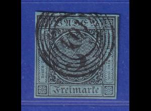 Altdeutschland Baden 3 Kreuzer blau Mi-Nr. 8 gestempelt 104, vollrandig !