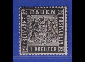 Altdeutschland Baden 1 Kreuzer schwarz Mi-Nr. 9 gestempelt