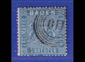 Altdeutschland Baden 3 Kreuzer blau Mi-Nr. 10a gestempelt