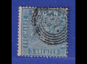 Altdeutschland Baden 3 Kreuzer blau Mi-Nr. 10a gestempelt, ideal gezähnt !