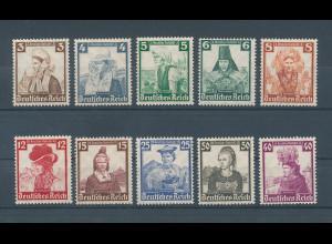 Deutsches Reich 1935, Mi.-Nr. 588-597, Volkstrachten , Satz kpl. einwandfrei **