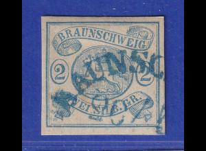 Altdeutschland Braunschweig Mi.-Nr. 2 einwandfrei, mit blauem Bogen-O BRAUNSC...
