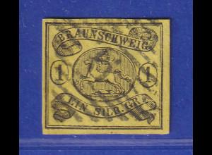 Altdeutschland Braunschweig Mi.-Nr. 11 A gestempelt mit Nr.-O 9 Braunschweig