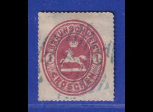 Altdeutschland Braunschweig Mi.-Nr. 18 gestempelt mit blauem Nummern-Stempel 40