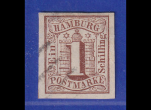 Altdeutschland Hamburg 1 Schilling braun Mi.-Nr. 2 gestempelt.