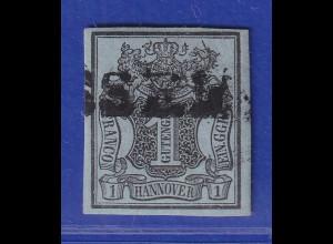 Altdeutschland Hannover 1 Ggr schwarz auf graublau, Mi.-Nr. 1 gestempelt