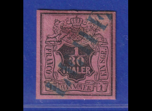 Altdeutschland Hannover 1/30 Th. schwarz auf himbeerrot, Mi.-Nr. 3b gestempelt
