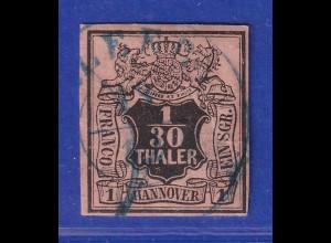 Altdeutschland Hannover 1/30 Th. schwarz auf lachsfarben, Mi.-Nr. 3a gestempelt