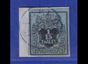 Altdeutschland Hannover 1/15 Th. schwarz auf graublau, Mi.-Nr. 4 gestempelt