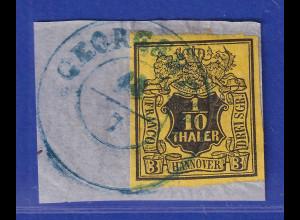 Altdeutschland Hannover 1/10 Th. schwarz auf gelb Mi.-Nr. 5 gestempelt Briefst.