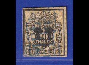 Altdeutschland Hannover 1/10 Th. schwarz , Netzwerk eng, Mi.-Nr. 7a gestempelt