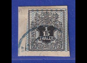 Altdeutschland Hannover 1/15 Th. schwarz, Netzwerk blau, Mi.-Nr. 11 gestempelt