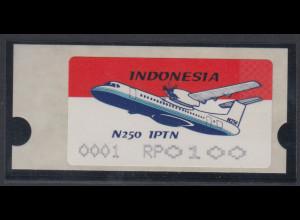 Indonesien ATM INDONESIA`96 Flugzeug IPTN N 250, AutNr. 0001, Mi.-Nr. 2.1 **