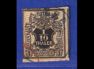Altdeutschland Hannover 1/10 Th. schwarz, Netzwerk orange, Mi.-Nr. 12 gestempelt