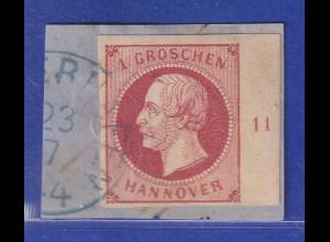 Altdeutschland Hannover Georg V. 1Gr. rechtes Randstück mit Reihenzahl 11 gest.