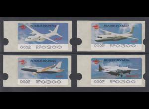 Indonesien ATM Indonesia Air Show 1996, 4 Flugzeuge, schwarz, Mi.-Nr. 3-6 e **