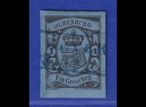 Altdeutschland Oldenburg 1 Gr. Mi.-Nr. 6 gestempelt, mit PLF II untere Randlinie