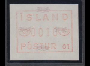 Island Frama-ATM 1.Ausgabe 1983, Aut.-Nr. 01, Posthorn breit, Mi.-Nr. 1.1.1 b