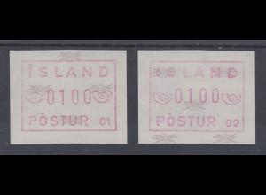 Island Frama-ATM 1.Ausgabe 1983, Aut.-Nr. 01 und 02, je eine ATM **