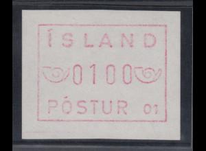 Island Frama-ATM 1.Ausgabe 1983, Aut.-Nr. 01 Abart weisses Papier Mi.-Nr. 1.1 XI