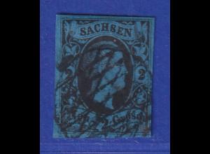 Altdeutschland Sachsen 1851 Friedrich August 2 Ngr Mi.-Nr. 5 mit Gitterrost-O