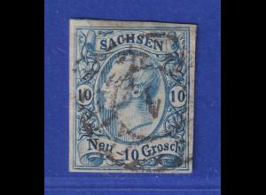 Altdeutschland Sachsen 1856 König Johann 10 Ngr Mi.-Nr. 13a mit Nummern-O 1