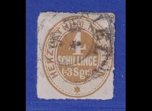 Altdeutschland Schleswig-Holstein 4 Schilling ocker, Mi.-Nr. 25 gestempelt