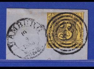 Altdeutschland Thurn & Taxis 3 Sgr. Mi.-Nr. 6a mit Nr.-O 300 HAMBURG Briefstück