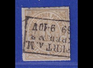 Norddeutscher Bund 18 Kreuzer olivbraun Mi.-Nr. 11 gestempelt FRANKFURT a. M.