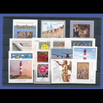 Bundesrepublik alle selbstklebenden Briefmarken des Jahrgangs 2008 komplett **