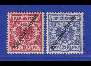 Deutsche Kolonien Marshall-Inseln Jaluit-Ausgabe 10/20 Pfg Mi.-Nr. 3-4 I *