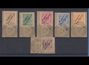 Deutsch-Neuguinea 1.Ausgabe 1897 Mi.-Nr. 1-6 Satz kpl. O auf Briefstücken