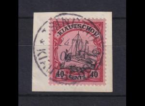 Deutsche Kolonien Kiautschou 40 Cent Mi-Nr. 23 gest. TSINGTAU auf Briefstück