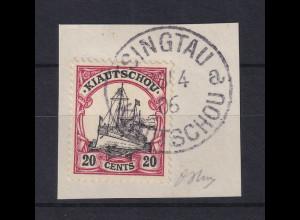 Deutsche Kolonien Kiautschou 20 Cent Mi-Nr. 22 gest. TSINGTAU auf Briefstück
