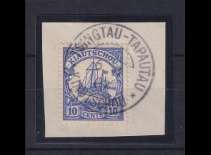 Deutsche Kolonien Kiautschou 10 Cent Mi-Nr. 21 gest. TSINGTAU auf Briefstück