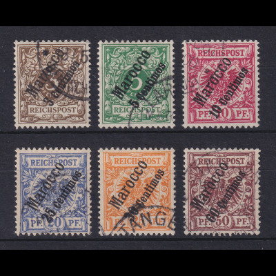 DAP Marokko 1. Ausgabe 1899 Mi.-Nr. 1-6 kpl. Satz 6 Werte gestempelt