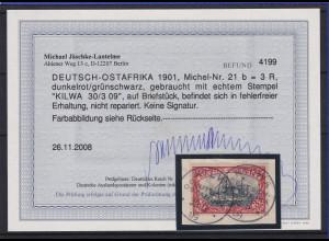 Deutsch-Ostafrika 1901 3 Rupien Mi.-Nr. 21 b schön gest. KILWA gepr. mit FB BPP