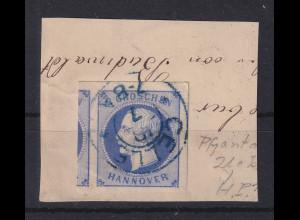 Altdeutschland Hannover Georg V. 2Gr. blau Mi.-Nr. 15 O CELLE auf Briefstück