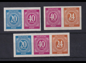 Alliierte Besetzung 1946 Set 3 Zusammendrucke aus Mi.-Nr. Block 12B **