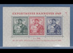 Bizone 1949 Blockausgabe EXPORTMESSE Hannover Mi.-Nr. Block 1 **