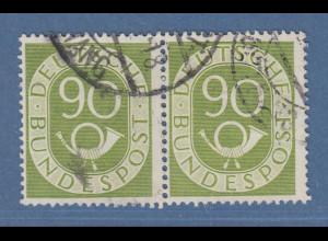 Bund Posthornsatz 90-Pfennig-Wert Mi.-Nr. 138 waagerechtes Paar gestempelt