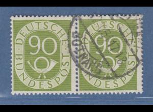 Bund Posthornsatz 90-Pfennig-Wert Mi.-Nr. 138 waagerechtes Paar O STUTTGART