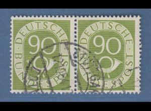 Bund Posthornsatz 90-Pfennig-Wert Mi.-Nr. 138 waager. Paar schön O STUTTGART