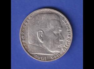 5-Reichsmark Silbermünze Hindenburg mit Hakenkreuz 1938 D