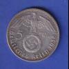 5-Reichsmark Silbermünze Hindenburg mit Hakenkreuz 1938 J