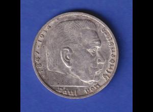 5-Reichsmark Silbermünze Hindenburg mit Hakenkreuz 1938 E