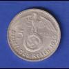 5-Reichsmark Silbermünze Hindenburg mit Hakenkreuz 1939 G