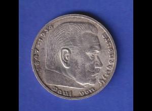 5-Reichsmark Silbermünze Hindenburg mit Hakenkreuz 1939 B